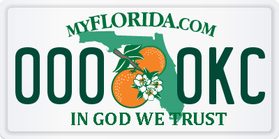 FL license plate 0000KC