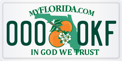 FL license plate 0000KF