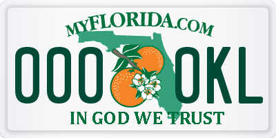 FL license plate 0000KL