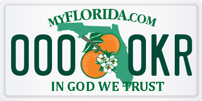FL license plate 0000KR
