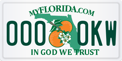 FL license plate 0000KW