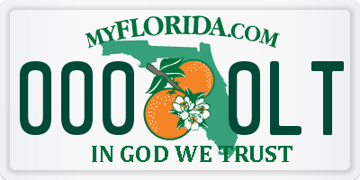 FL license plate 0000LT