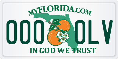 FL license plate 0000LV