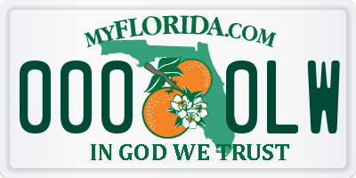 FL license plate 0000LW