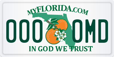 FL license plate 0000MD