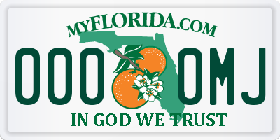 FL license plate 0000MJ