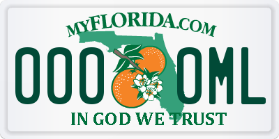 FL license plate 0000ML