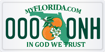 FL license plate 0000NH