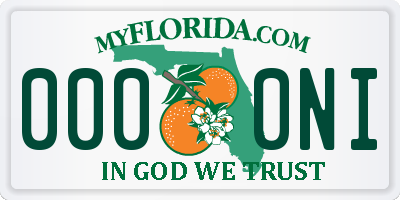 FL license plate 0000NI