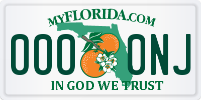 FL license plate 0000NJ