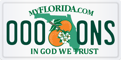 FL license plate 0000NS