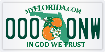 FL license plate 0000NW
