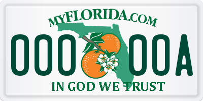 FL license plate 0000OA