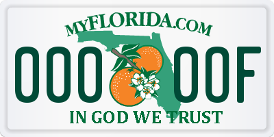 FL license plate 0000OF