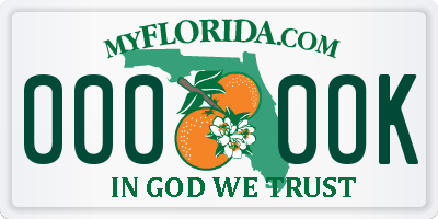 FL license plate 0000OK