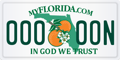FL license plate 0000ON