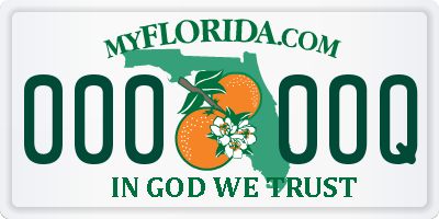 FL license plate 0000OQ