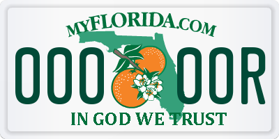 FL license plate 0000OR