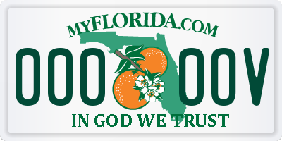 FL license plate 0000OV
