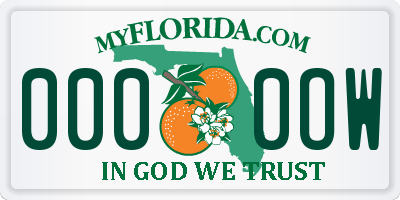 FL license plate 0000OW