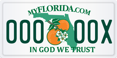 FL license plate 0000OX