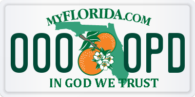 FL license plate 0000PD