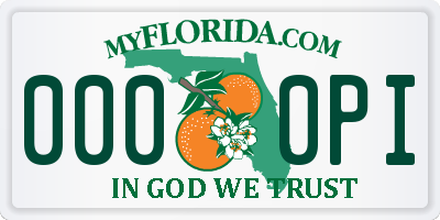 FL license plate 0000PI