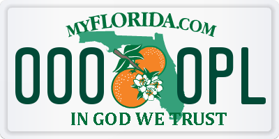FL license plate 0000PL