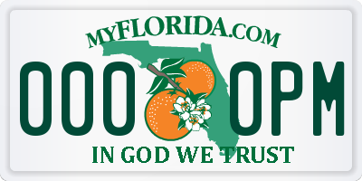 FL license plate 0000PM