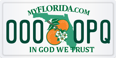 FL license plate 0000PQ