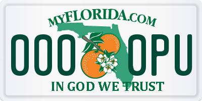 FL license plate 0000PU