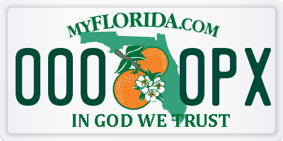 FL license plate 0000PX