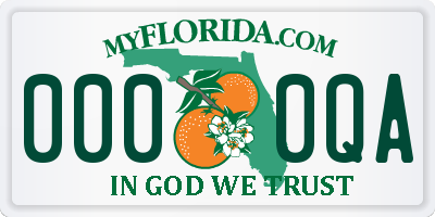 FL license plate 0000QA