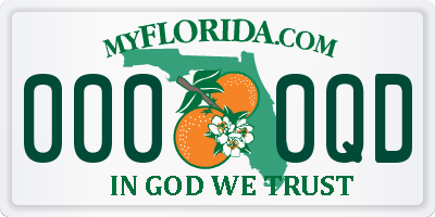 FL license plate 0000QD