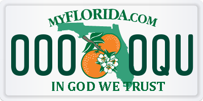 FL license plate 0000QU