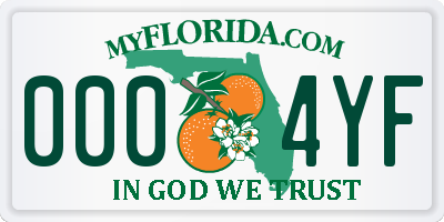 FL license plate 0004YF