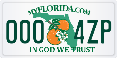 FL license plate 0004ZP