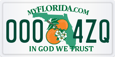 FL license plate 0004ZQ