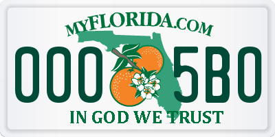 FL license plate 0005BO