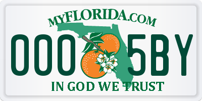 FL license plate 0005BY