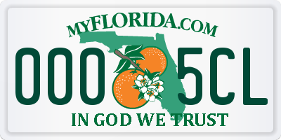 FL license plate 0005CL
