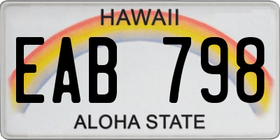HI license plate EAB798