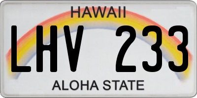 HI license plate LHV233