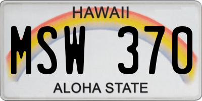 HI license plate MSW370