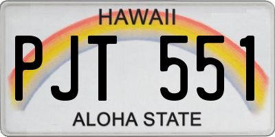 HI license plate PJT551