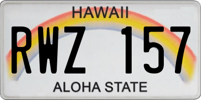 HI license plate RWZ157