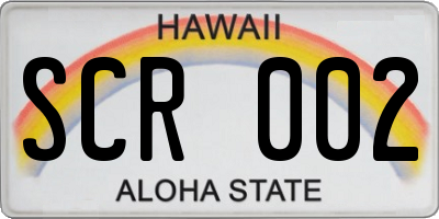 HI license plate SCR002