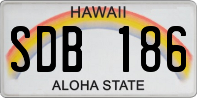 HI license plate SDB186