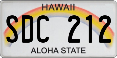 HI license plate SDC212
