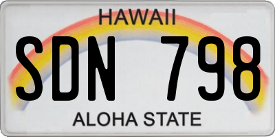HI license plate SDN798